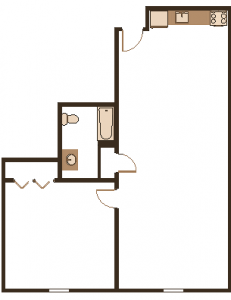 1 Bedroom, 890 Square Feet
